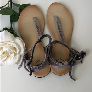 Alpine Swiss purple velvet sandals